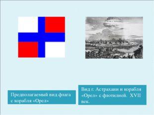 Предполагаемый вид флага с корабля «Орел» Вид г. Астрахани и корабля «Орел» с