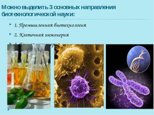 Можно выделить 3 основных направления биотехнологической науки: 1, Промышленн