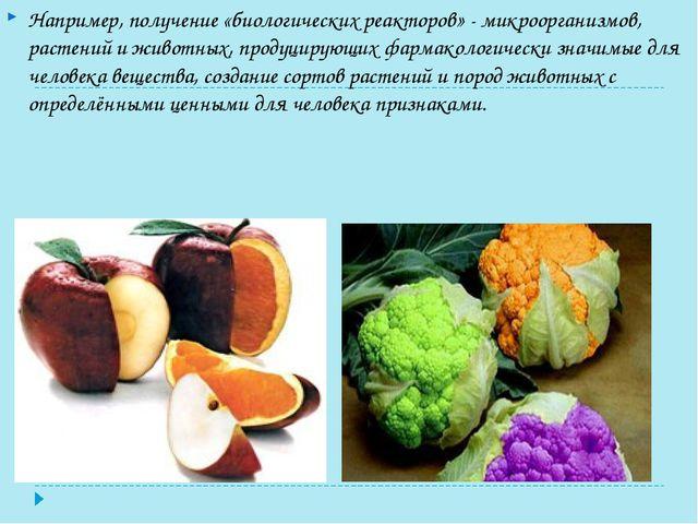 Например, получение «биологических реакторов» - микроорганизмов, растений и ж...