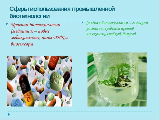 Сферы использования промышленной биотехнологии Красная биотехнология (медицин...