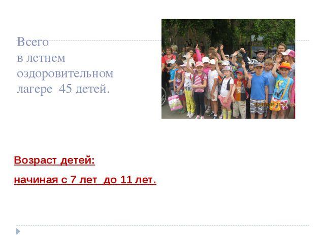 Всего в летнем оздоровительном лагере 45 детей. Возраст детей: начиная с 7 ле...