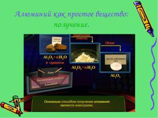 Алюминий как простое вещество: получение.