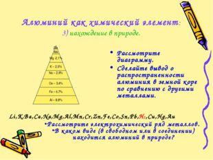 Алюминий как химический элемент: 3) нахождение в природе. Li,K,Ba,Ca,Na,Mg,Al