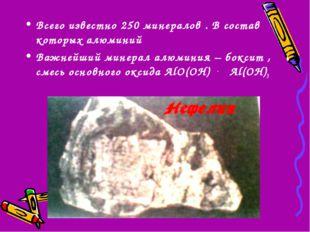Всего известно 250 минералов . В состав которых алюминий Важнейший минерал ал