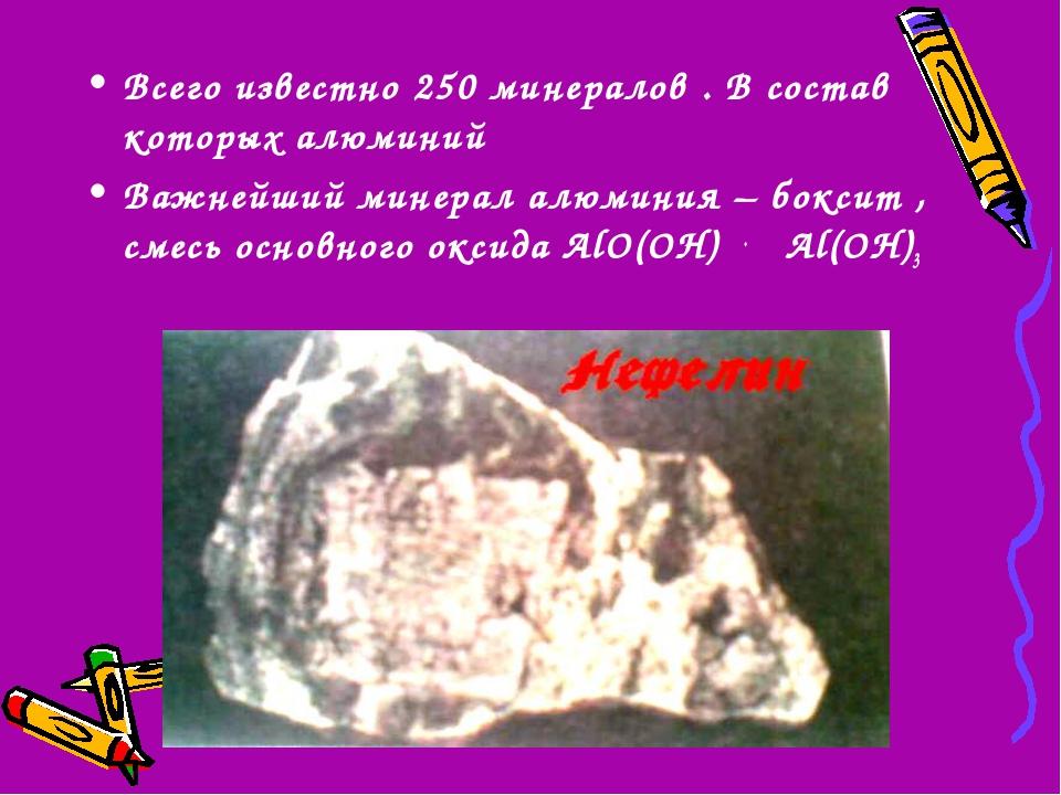 Всего известно 250 минералов . В состав которых алюминий Важнейший минерал ал...