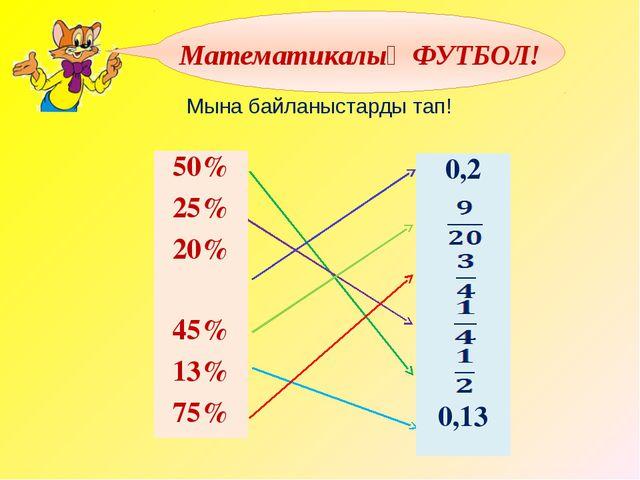 Мына байланыстарды тап! Математикалық ФУТБОЛ! 50% 25% 20% 45% 13% 75% 0,2 0,13