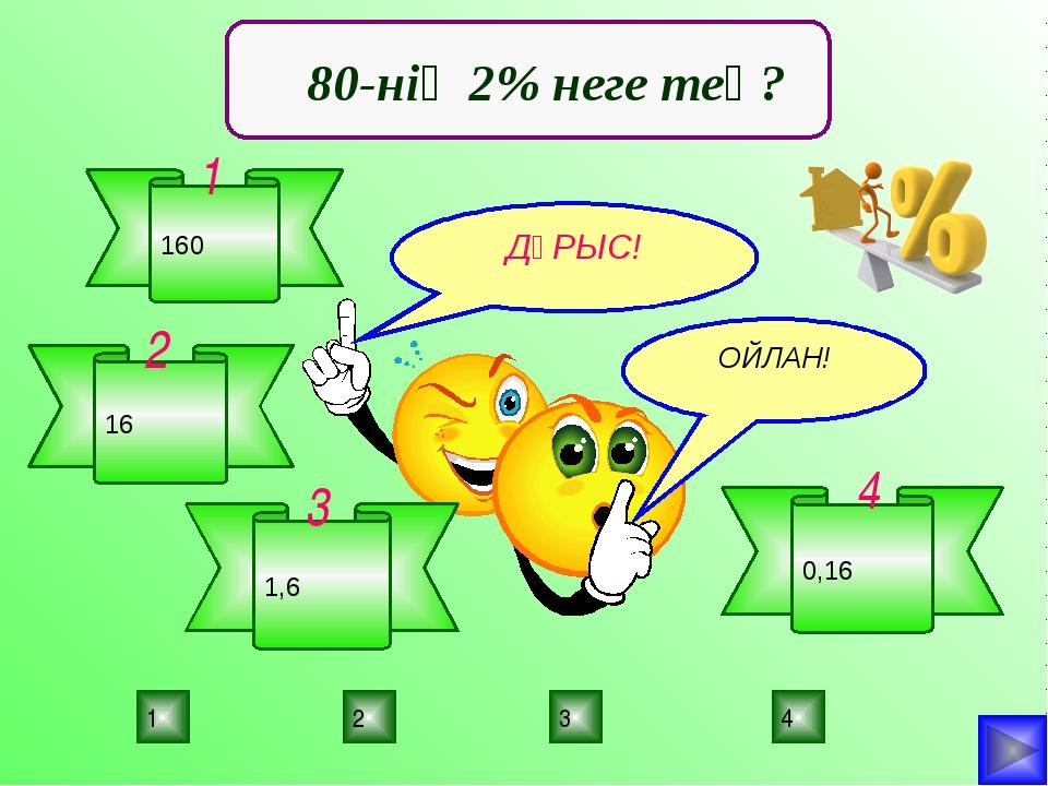 3 2 1 4 ДҰРЫС! ПОДУМАЙ! ПОДУМАЙ! ОЙЛАН! 80-нің 2% неге тең? 160 1 16 2 1,6 3...