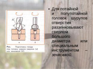 Для потайной и полупотайной головок шурупов отверстия раззенковывают сверлом