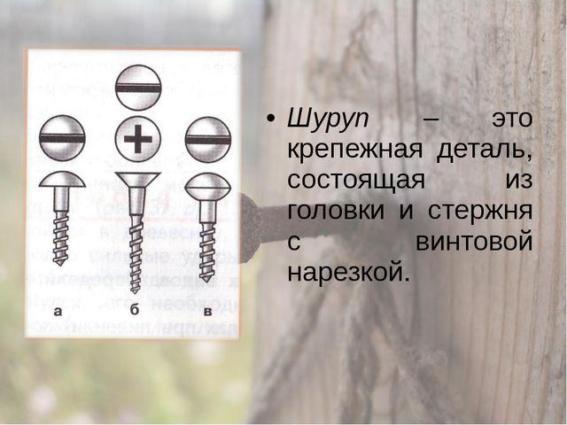 Шуруп – это крепежная деталь, состоящая из головки и стержня с винтовой нарез...