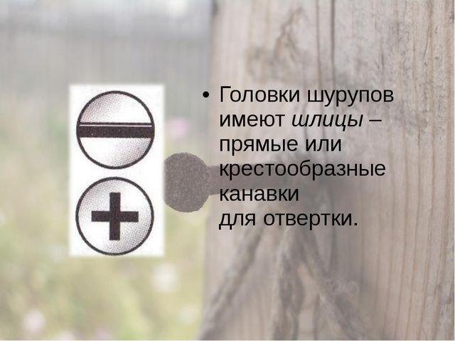 Головки шурупов имеют шлицы – прямые или крестообразные канавки для отвертки.
