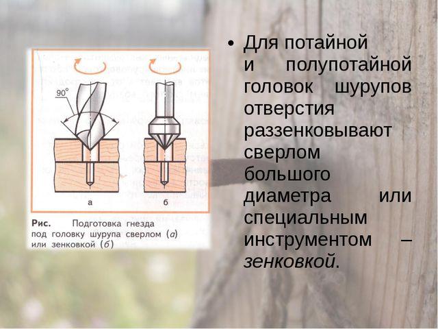 Для потайной и полупотайной головок шурупов отверстия раззенковывают сверлом...
