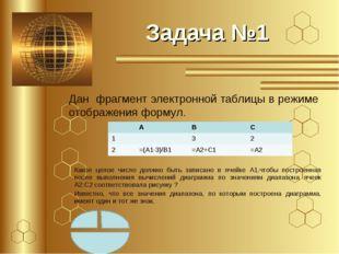 Задача №1 Дан фрагмент электронной таблицы в режиме отображения формул. Какое