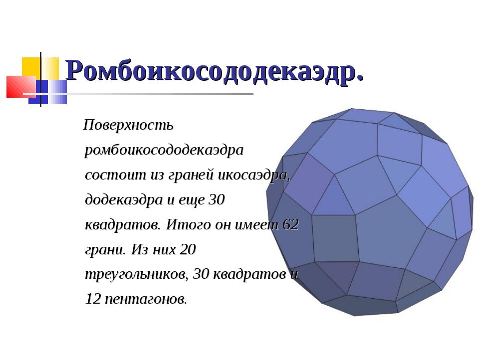 Ромбоикосододекаэдр. Поверхность ромбоикосододекаэдра состоит из граней икоса...