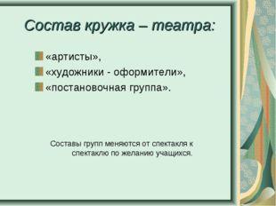 Состав кружка – театра: «артисты», «художники - оформители», «постановочная г