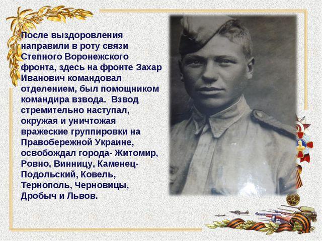 После выздоровления направили в роту связи Степного Воронежского фронта, зде...