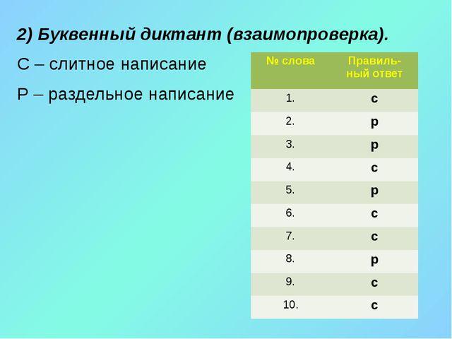 2) Буквенный диктант (взаимопроверка). С – слитное написание Р – раздельное...