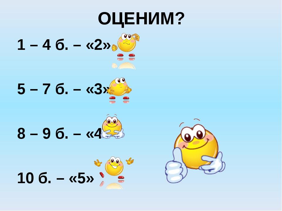 ОЦЕНИМ? 1 – 4 б. – «2» 5 – 7 б. – «3» 8 – 9 б. – «4» 10 б. – «5»