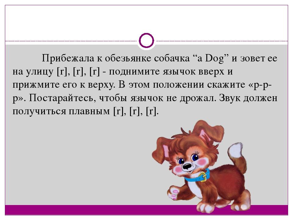 "Прибежала к обезьянке собачка ""a Dog"" и зовет ее на улицу [r], [r], [r] -..."