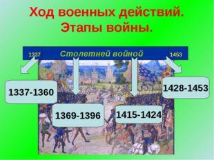 Ход военных действий. Этапы войны. 1337 Столетней войной 1453 1337-1360 1369-