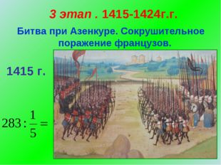 3 этап . 1415-1424г.г. Битва при Азенкуре. Сокрушительное поражение французов