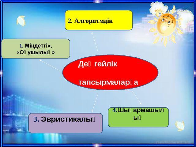 1. Міндетті», «Оқушылық» 2. Алгоритмдік 3. Эвристикалық 4.Шығармашылық Деңге...