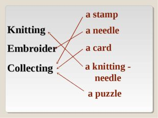 Knitting Embroider Collecting a stamp a needle a card a knitting - needle a p