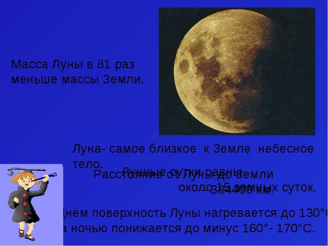 Луна- самое близкое к Земле небесное тело. Днём поверхность Луны нагревается...