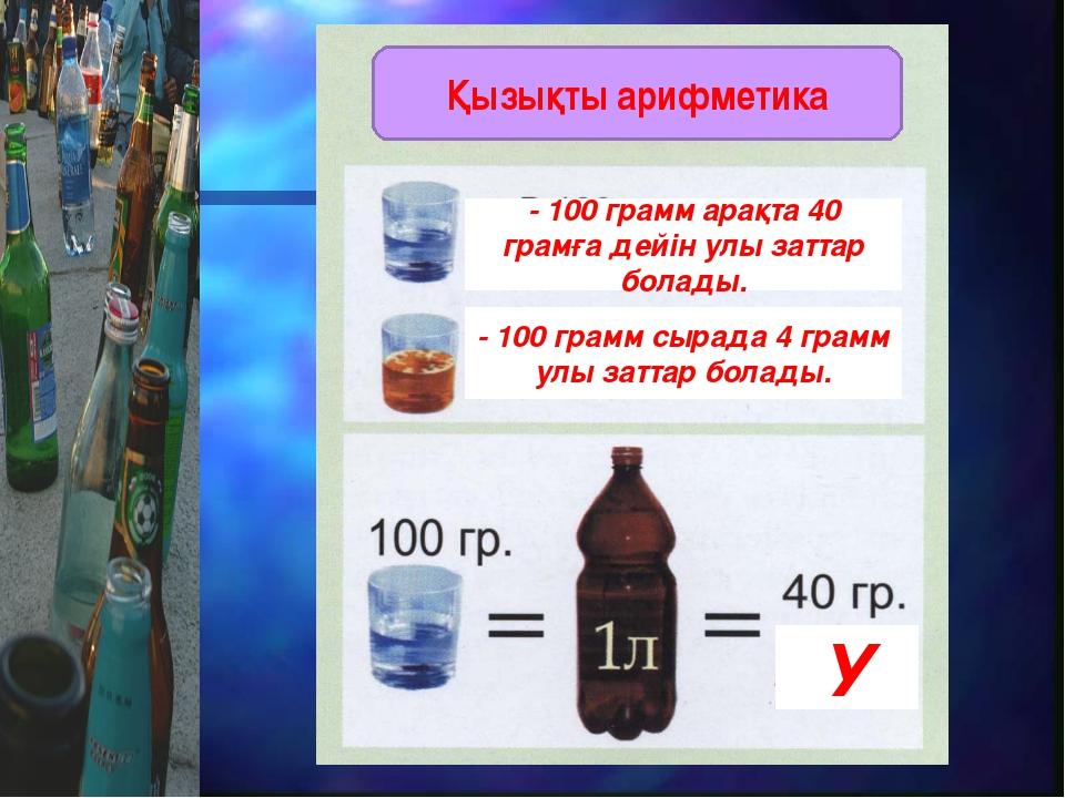 - 100 грамм арақта 40 грамға дейін улы заттар болады. - 100 грамм сырада 4 гр...