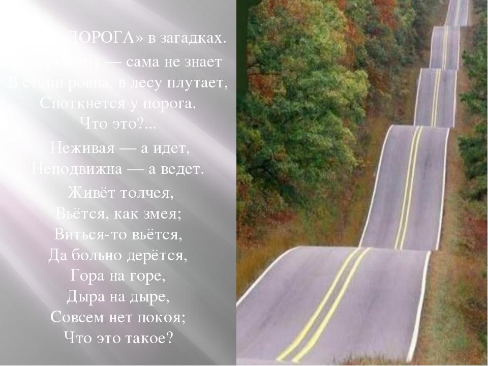 Слово «ДОРОГА» в загадках. Куда бежит — сама не знает В степи ровна, в лесу п...