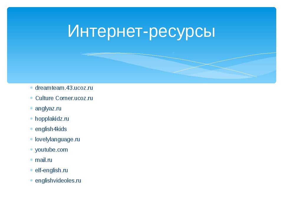 dreamteam.43.ucoz.ru Culture Corner.ucoz.ru anglyaz.ru hopplakidz.ru english4...