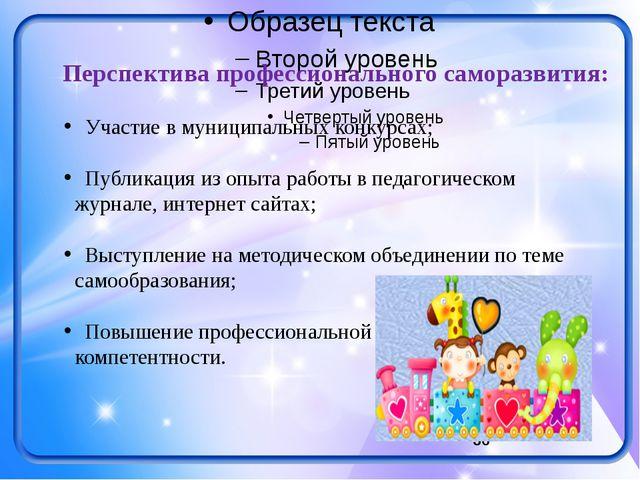 Участие в муниципальных конкурсах; Публикация из опыта работы в педагогическ...