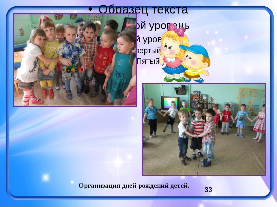 Организация дней рождений детей.