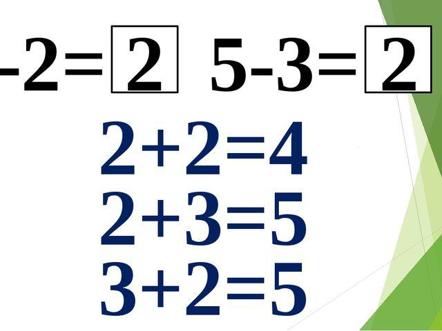 4-2= 5-3= 2 2 2+2=4 2+3=5 3+2=5