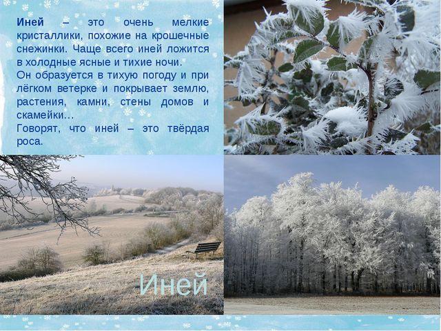 Иней – это очень мелкие кристаллики, похожие на крошечные снежинки. Чаще всег...