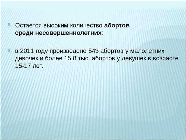 Остается высоким количествоабортов срединесовершеннолетних: в 2011 году про...