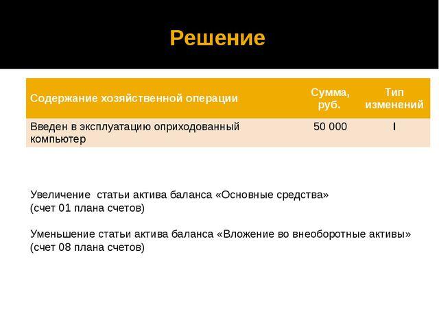 Решение Увеличение статьи актива баланса «Основные средства» (счет 01 плана с...
