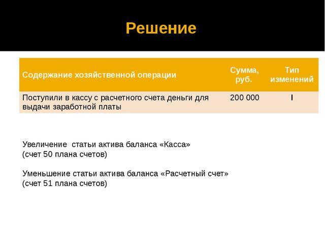 Решение Увеличение статьи актива баланса «Касса» (счет 50 плана счетов) Умень...