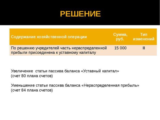 РЕШЕНИЕ Увеличение статьи пассива баланса «Уставный капитал» (счет 80 плана с...