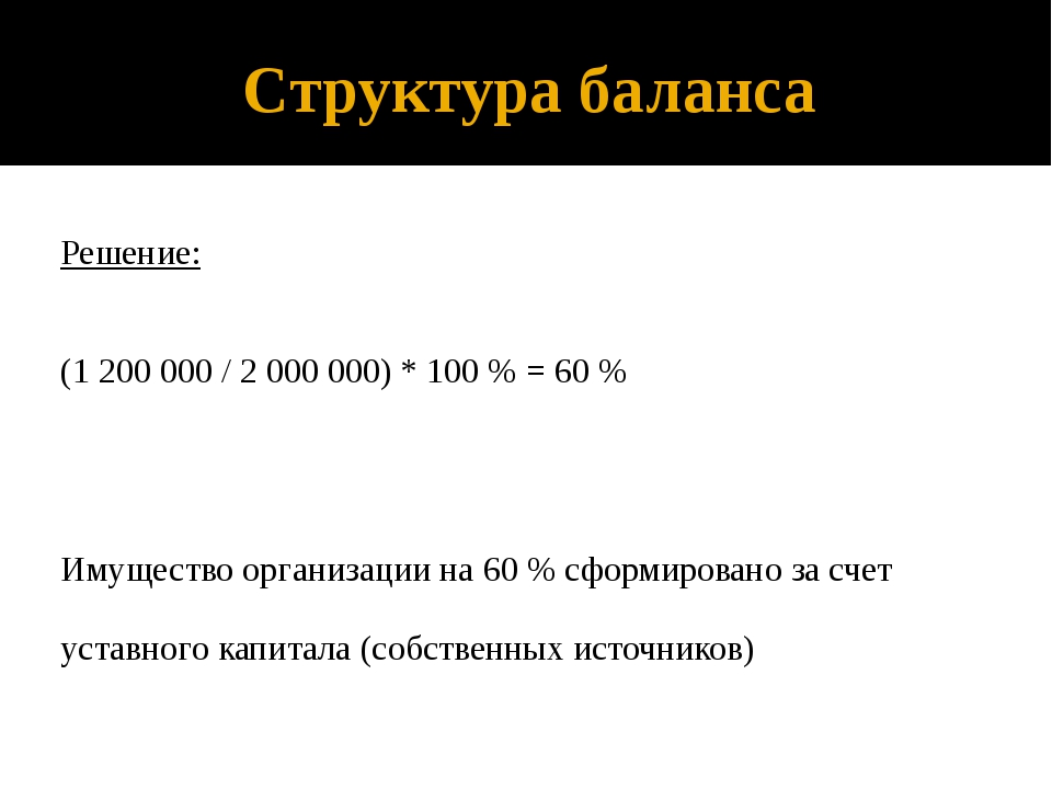 Структура баланса Решение: (1 200 000 / 2 000 000) * 100 % = 60 % Имущество о...