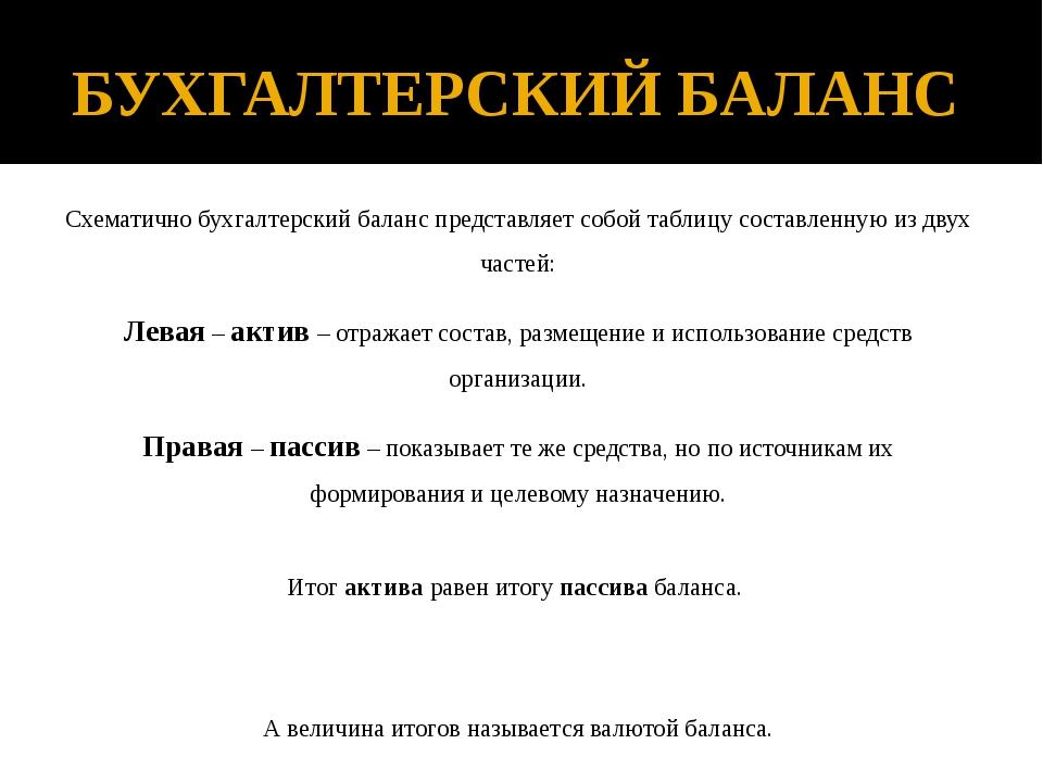 БУХГАЛТЕРСКИЙ БАЛАНС Схематично бухгалтерский баланс представляет собой табли...