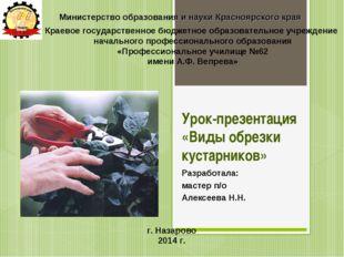Урок-презентация «Виды обрезки кустарников» Разработала: мастер п/о Алексеева