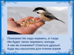 Поможем! Их надо кормить, и тогда Им будет легко пережить холода. А как же по