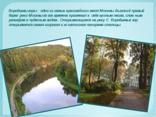Воробьевы горы - одно из самых красивейших мест Москвы. Высокий правый берег