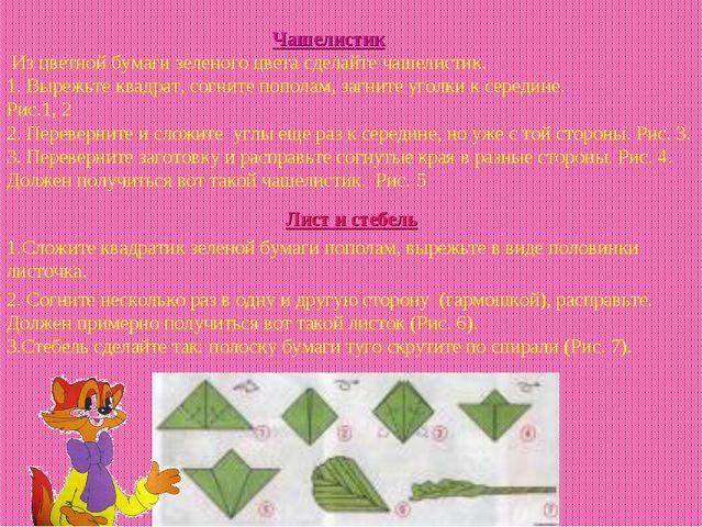 Чашелистик Из цветной бумаги зеленого цвета сделайте чашелистик. 1. Вырежьт...