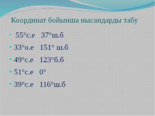 Координат бойынша нысандарды табу 55°с.е 37°ш.б 33°о.е 151° ш.б 49°с.е 123°б.