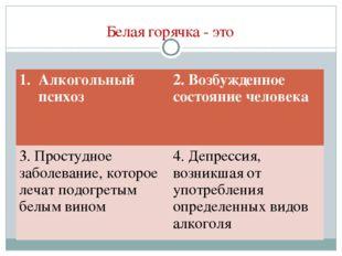 Белая горячка - это Алкогольный психоз2. Возбужденное состояние человека 3.