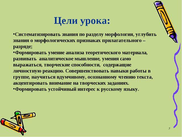 * Цели урока: Систематизировать знания по разделу морфология, углубить знания...