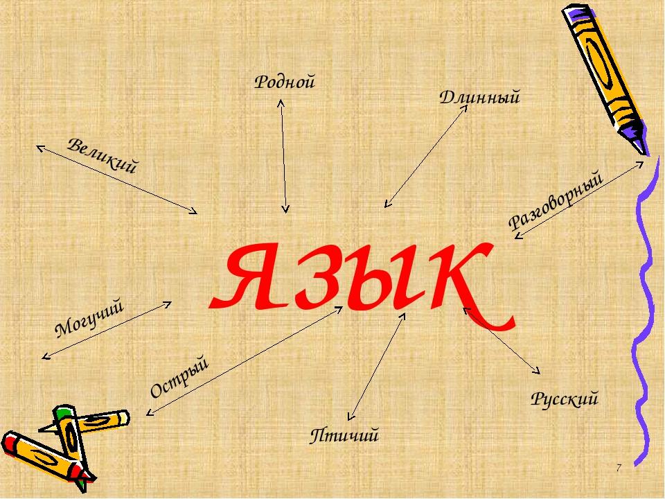 язык * Великий Могучий Острый Русский Родной Длинный Птичий Разговорный