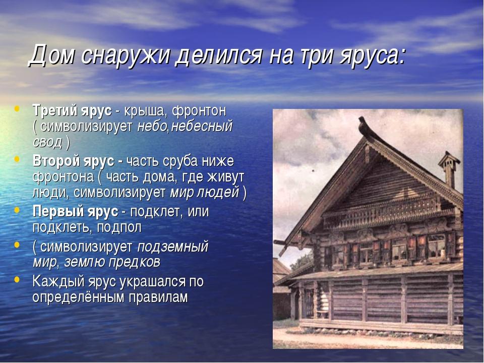 Дом снаружи делился на три яруса: Третий ярус- крыша, фронтон ( символизируе...