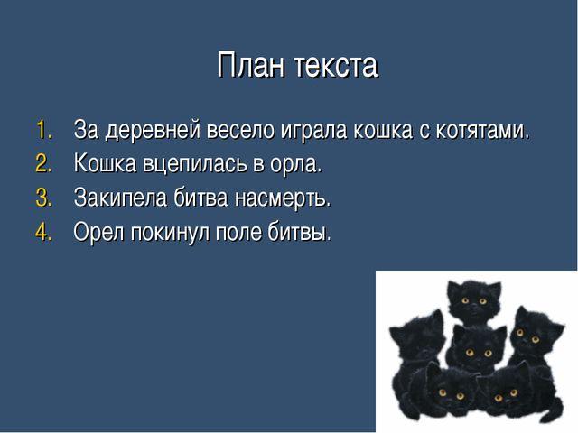 План текста За деревней весело играла кошка с котятами. Кошка вцепилась в ор...